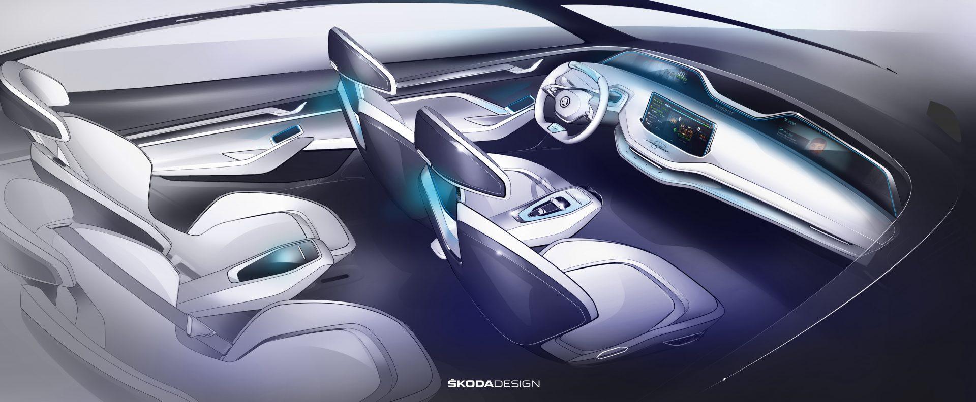 Škoda Vision E - интериор